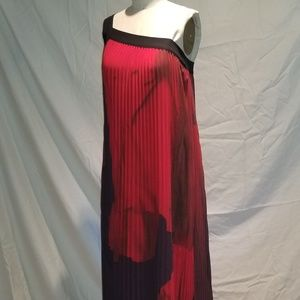 Red Pleated Chiffon Gown